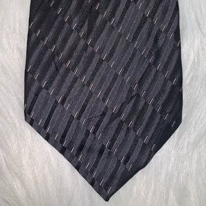 Perry Ellis silk black striped tie D